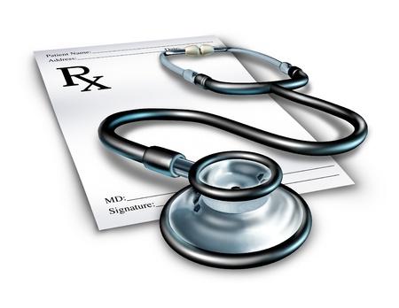 prescriptions: Receta con estetoscopio representando una nota de doctor de medicina para una orden m�dica de farmac�utico. Foto de archivo