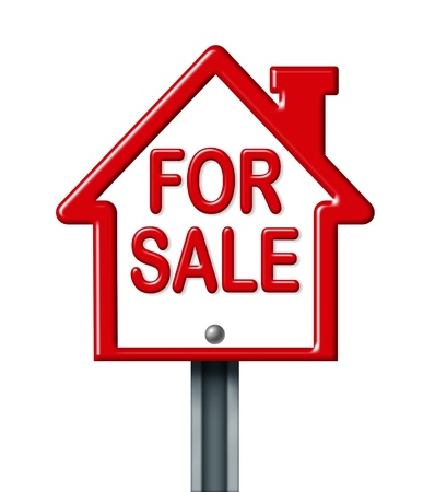 for sale sign: Home for sale sign isolated on white representing the concept of real estate sale of a house. Stock Photo