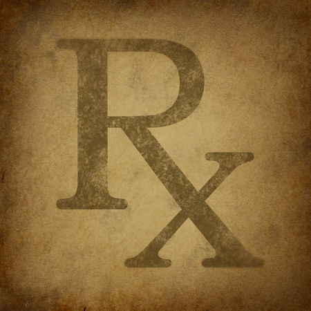 Rx Prescription for a pharmacist symbol in a grunge vintage look on parchement paper representing the medicine recomended by medical doctor.