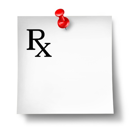 Prescription office note isolated on a white background representing a doctor photo