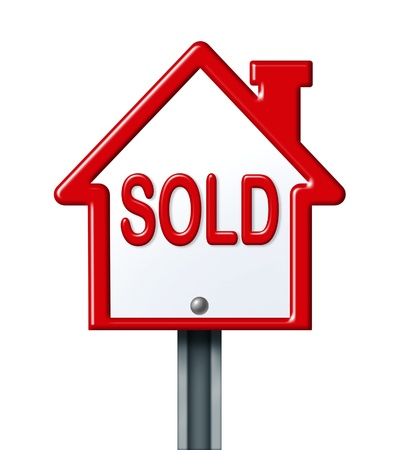 commision: Real estate symbol for a sold home isolated on white.
