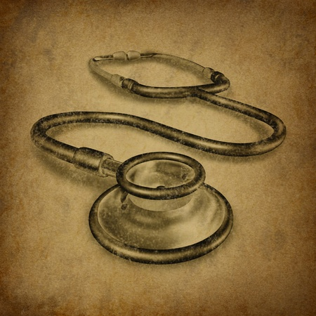 stethoscope with old vintage grunge texture representing healthcare and medical doctor tool for diagnosis. Imagens