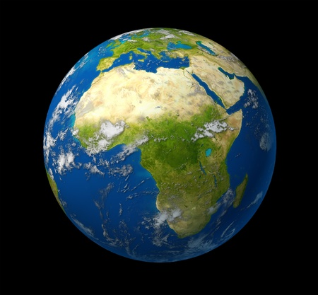 Earth model planet featuring Africa and middle eastern countries surrounded by blue african ocean and clouds on black background.
