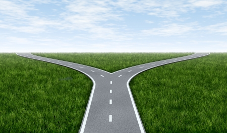 crossroads: Fork in the road horizon with grass and blue sky showing a fork in the road representing the concept of a strategic dilemma choosing the right direction to go when facing two equal or similar options.