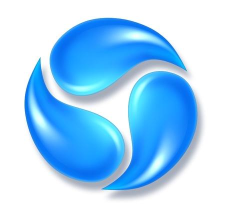 Las gotas de agua símbolo de icono que representa a tres gotas de fluido fresco H2O se mueve en una forma redonda.
