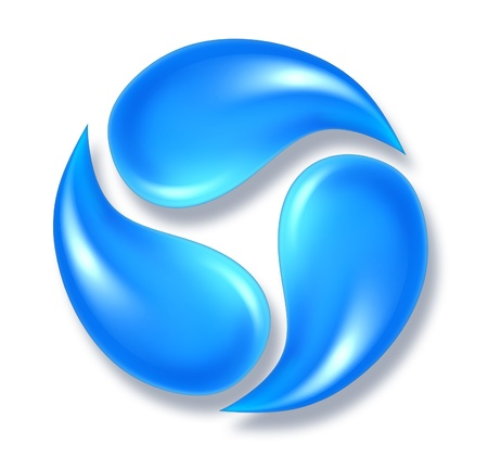 Water drops icon symbol representing three flowing fresh H2O droplets moving in a round shape.