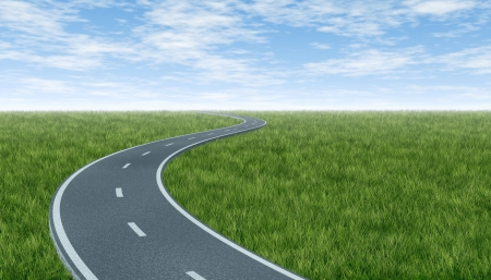 winding road: Horizon with curved highway road with green grass and sky landscape representing the concept of a planned strategic journey to a goal related destination represented by a single paved pathway with two lanes.