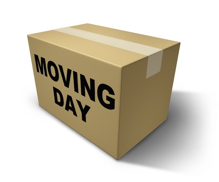 packaging move: Moving day box representing movers and packaging for a move from one home to another Stock Photo