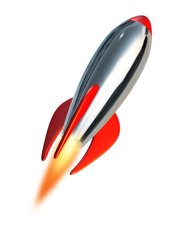 launch: Take off and blast off symbol into space using a metal missile rocket spacecraft propelling into a white background representing fresh planning and strategy with new beginnings and charging towards the future ahead.