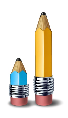 Teacher and student symbol showing coaching and tutoring for education represented by a big yellow pencil and a small blue pencil side by side . Stock Photo - 10609215