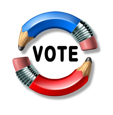 polls: Vote symbol with curved pencils