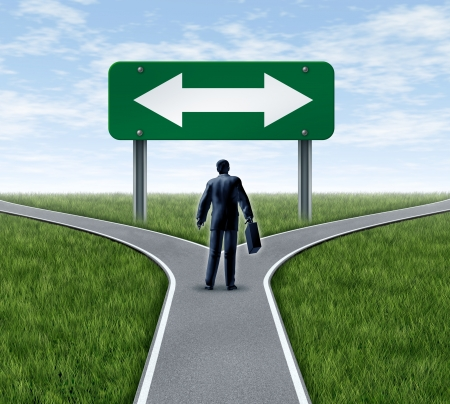 Decision time for a career with a business man at a cross roads  and road sign with arrows showing a fork in the road representing the concept of a work dilemma choosing the direction to go when facing two equal or similar job options.