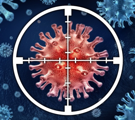 cure prevention: Research to cure the infection with targeted medical treatment with doses of pharmaceuticals and hospital medicine designed by scientists and doctors represented by bacterial virus cells with crosshairs target.