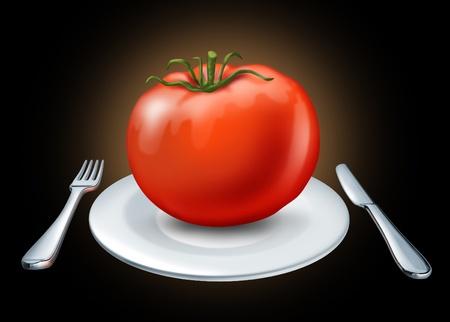 buena salud: Dieta sana representada por un plato blanco con tenedor y cuchillo y un tomate rojo grande que representa la salud alimentaria y la nutrici�n de buena salud sobre un fondo negro.