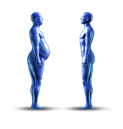 Losing weight symbol with an over weight man facing a normal fit human representing the concept of eating disorder and nutrition for a healthy lifestyle. Banco de Imagens