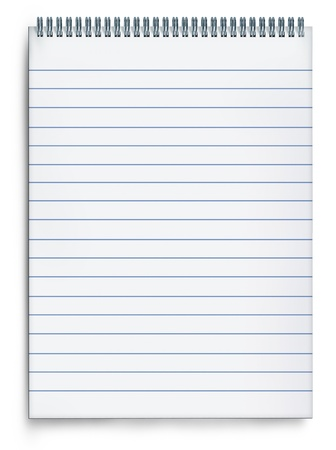 Blank notepad book on a white background with striped paper and metal spiral representing the concept of planning and correspondence through the writing of messages and notes on a blank page. Stock Photo - 10674639