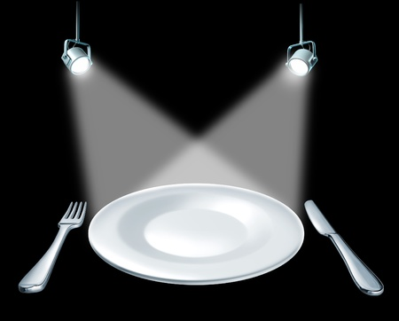 cuisine entertainment: Featured dish on the menu restaurant and dinning symbol represented by a plate with a fork and knife and stage spot lights lights showing the concept of an important presentation announcement on a blank ceramic plate.