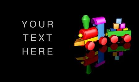 nursery education: Juguete de preescolar y jard�n de infancia ni�o s�mbolo que representa el concepto de juego infantil con un colorido tren de madera colocado en las formas geom�tricas b�sicas sobre un fondo negro. Foto de archivo