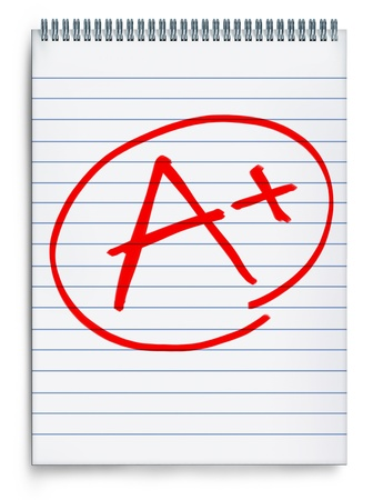 exam results: Excellent rating o a notebook page representing a report on test results represented by an A with a plus sign in red on a white background.