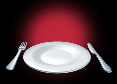 cuisine entertainment: Special of the day Featured dish on the menu at a restaurant and dinning symbol represented by a plate with a fork and knife on a black background showing the concept of an important featured announcement on a blank ceramic plate.