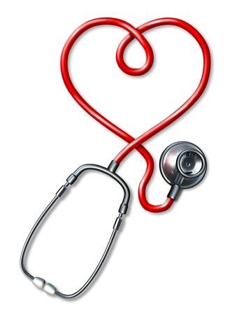 의학의 세계에서 건강과 체력을 나타내는 빨간색 하트 모양의 코드와 의료 어쿠스틱 악기 BU를 표시 청진 심장 기호. 스톡 콘텐츠