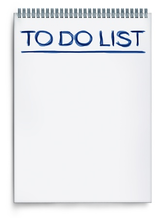 things to do: To do list on a notepad representing things to do when planning and organizing a schedule to get things done and be productive.