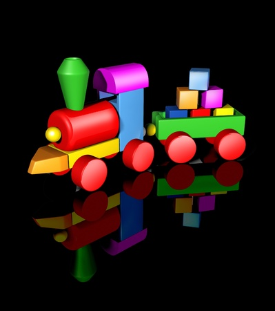 Preschool and kindergarten kid toy symbol representing nursery playgroup concept featuring a colorful wooden train set with basic geometric shapes on a black background. photo
