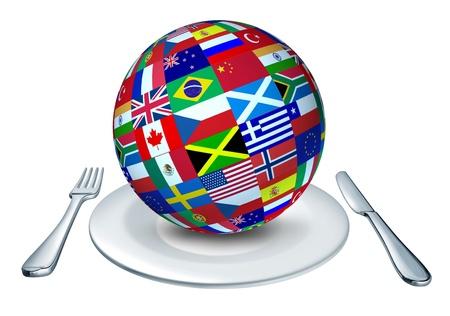 comida gourment: Cocina internacional representada por un globo con banderas de pa�ses como Italia Francia y China que representa gourmet y casera de todo el mundo. Foto de archivo