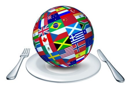 international food: International cuisine represented by a globe with flags from many countries as Italy France and China representing gourmet and home cooking from around the world.