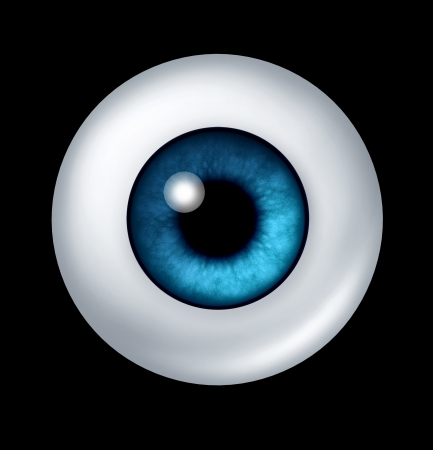 eye ball: Single blue human eye ball with iris and retina lense representing the organ of sight and the medical profession of optometry to see if eye glasses or conytact lenses are medicaly prescribed.