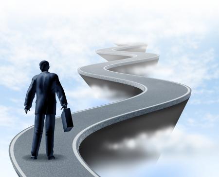 キャリア: ビジネスの不確実性とリスクの高い危険性やビジネスと金融、金融サービスの企業の世界で直面している極端な課題の概念を示す雲の上の曲がりくねった道で表されます。