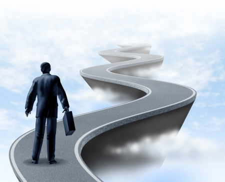 winding road: Business uncertainty and risk represented by a winding road high above the clouds showing the concept of danger and extreme challenges faced in business and the corporate world of finance and financial services.