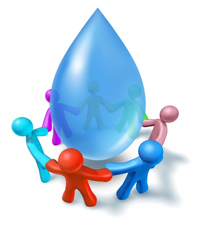 World water health network of world cooperation represented by a blue drop of h2o and human characters of different colors connected in a network holding hands showing people working together for clean drinking water.