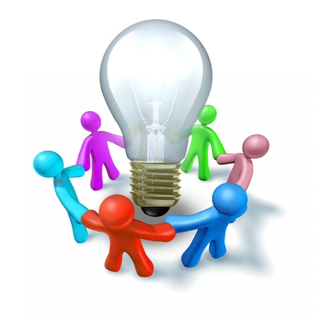 Focus group brainstorming new ideas working as a creative team to find innovative concepts and inventions represented by people holding hands around a light bulb.