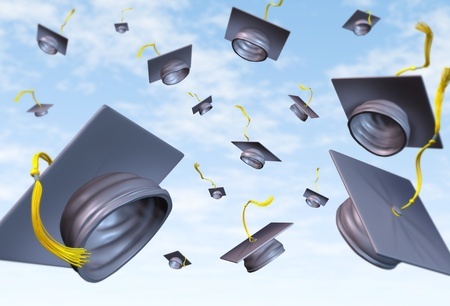 college graduate: Graduation caps thrown in the air as a celebration with a traditional hat toss for the graduate university and college students featuring a black velvet mortar-board and gold lace. Stock Photo