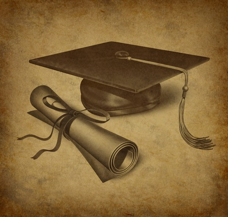 graduation ceremony: Graduation hat and diploma with vintage grunge texture representing the education concept of acheivement and academic success in university and college.