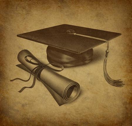 graduacion de universidad: Sombrero de graduaci�n y diploma con textura grunge vintage que representa el concepto de educaci�n de acheivement y �xito acad�mico en la Universidad y el colegio.