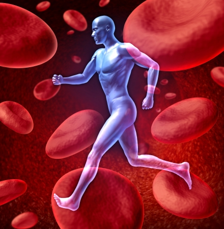 circulation: Human cardiovascular blood circulation system represented by a running human with a background of red blood cells flowing through an artery showing the concept of the medical circulatory body that is well oxygenated. Stock Photo
