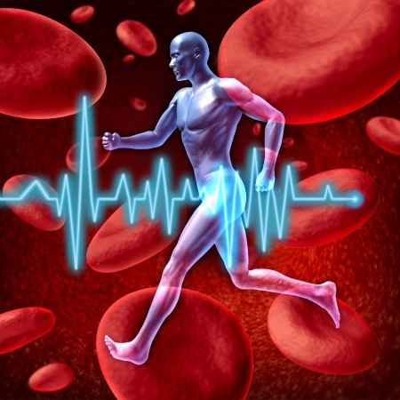 blood flow: Human cardiovascular circulation represented by a running human with a background of red blood cells flowing through an artery showing the concept of the medical circulatory system that is well oxygenated. Stock Photo