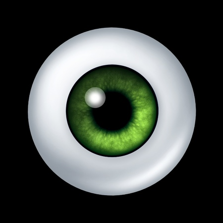 cornea: Human green eye ball organ with iris and retina lens representing the body part of sight and the medical profession of optometry to see if eye glasses or contact lenses are medically prescribed.