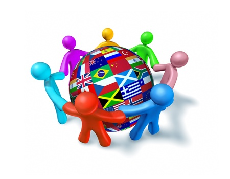Internationaal netwerk van de wereld samenwerking vertegenwoordigd door een Shere wereldbol met vlaggen uit de hele wereld en de menselijke karakters van verschillende kleuren verbonden in een netwerk hand in hand.