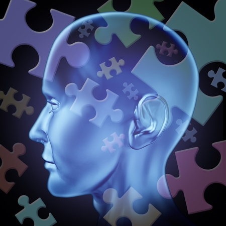 alzheimers: Puzzled mind and brain teasers symbol featuring a human head with jigsaw puzzle peices representing the concept of riddles of thinking and problem solving to find a solution and answers to mysteries of the brain. Stock Photo