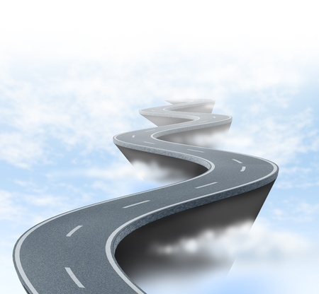 unsure: Risk and uncertainty represented by a winding road high above the clouds showing the concept of danger and extreme challenges faced in business and life. Stock Photo