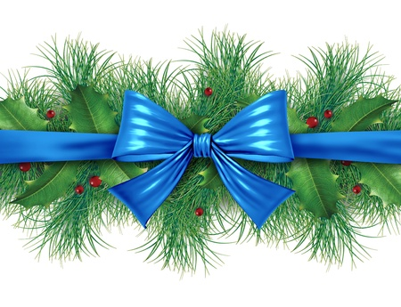 slingers: Blauwe zijde boog met grenen grens sier vakantie decoratie voor kerst feestelijke viering winter op een witte achtergrond.