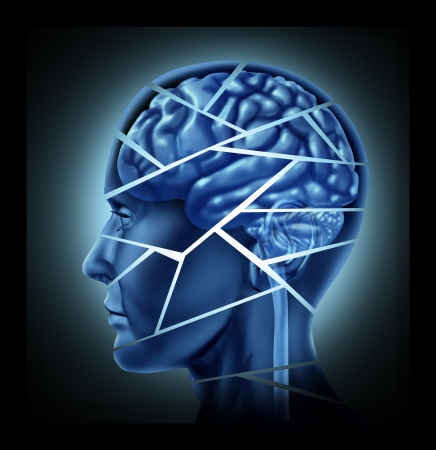 cerebral: Brain injury and neurological disorder represented by a human head and mind broken in peices to symbolize a severe medical mental trauma and cognitive illness. Stock Photo