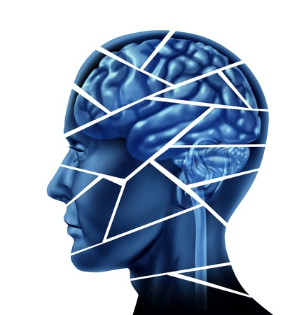 Brain injury and neurological disorder represented by a human head and mind broken in peices to symbolize a severe medical mental trauma and cognitive illness on white background.