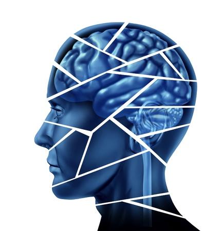 esquizofrenia: Lesión cerebral y trastorno neurológico representado por una cabeza humana y la mente rota en peices para simbolizar un severo trauma médico mental y las enfermedades cognitivas en el fondo blanco.