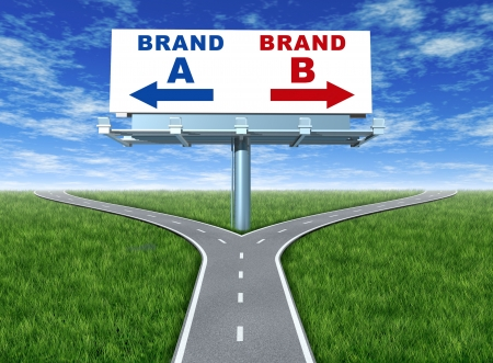 business dilemma: Choosing brands and branding loyalty represented by a horizontal billboard with a choice of brand a and brand b sitting on a cross roads with green grass and sky showing the concept of marketing and promotion. Stock Photo
