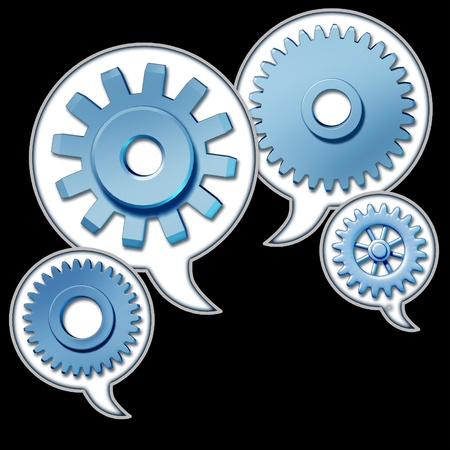 Networking and referrals represented by word bubbles with cogs and gears representing the social media concept of sharing information technology. photo