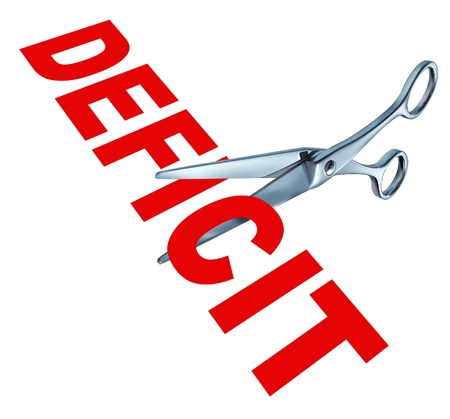 budgetary: Cutting the deficit to balance the government financial budget due to the recession and other public debt crisis represented by open sharp scissors.